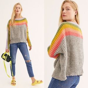 Free People Grey Rainbow Stripe Sweater Alpaca